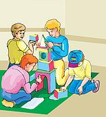 Children playing block game