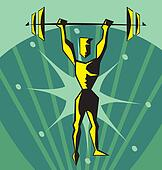 Front view of a weightlifter