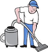 Male Cleaner vacuuming  with vacuum cleaning
