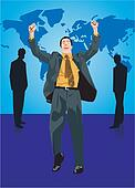 Businessman standing with his arms raised