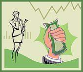 Businesswoman talking on cell phone and hand holding money