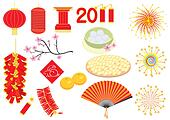 Chinese new year elements on
