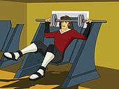 Front view of a man exercising