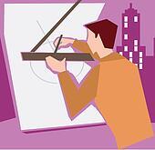 Architect making a blueprint