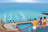 Tourists on cruise ship