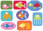 Applique fabric with cartoons water animals.Vector fishes on white