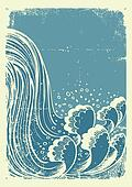 Waterfall.Vector grunge blue water waves  on old paper background