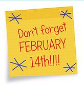Valentines Day reminder - sticky note, Febuary 14th