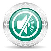 mute green icon, christmas button, silence sign