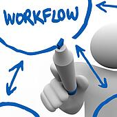 Workflow - Person Writing Diagram for Work Process on Board