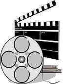 movie reel with clapboard