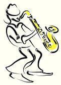 vector stylized saxophone and musician