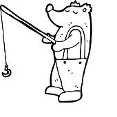 cartoon bear with fishing rod