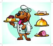 dog in chef clothes serving a dish