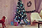 Christmas fir tree with toys