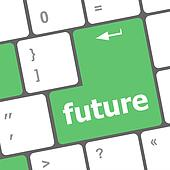 future time concept with key on computer keyboard