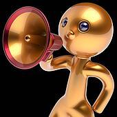 Man megaphone character making announcement golden