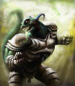 a lizard warrion wearing a steel armor