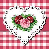 Vintage rose bouquet on lace heart