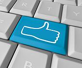 Thumb's Up Like Icon Key on Computer Keyboard