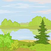 Landscape. Forest river