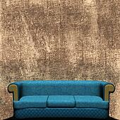 Couch Against Grunged Wall