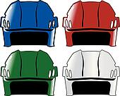 set of hockey helmets