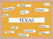 Texas State Corkboard Word Concept