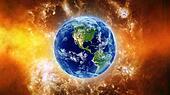 Earth in fire nebula in space