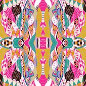 Ornamental paisley bandanna. Hand drawn background with artistic pattern. Bright colors.