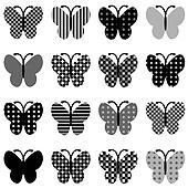 Patterned butterflies set
