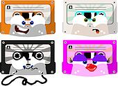 cute cartoon cassettes