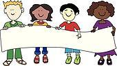Multi ethnic kids holding banner