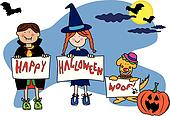Halloween kids and dog