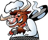 Bull Chef holding a Pan over his sc
