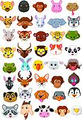 Cartoon animal head collection set