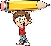 Boy holding a huge pencil