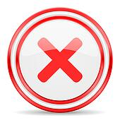 cancel red white glossy web icon