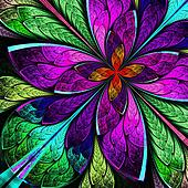 Beautiful multicolor fractal flower in stained glass window styl