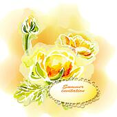 Flower frame background, watercolor