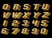 Gold alphabet isolated on black