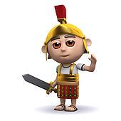 3d Roman soldier waves