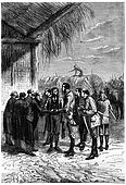European bade farewell, vintage engraving.