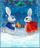 Christmas bunnies with a gift