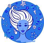 young women among sea creatures