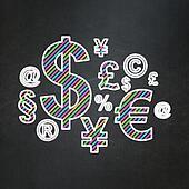 News concept: Finance Symbol on chalkboard background