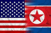 Waving USA and North Korea Flag
