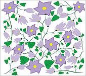 Violet flower with leaflets, buds.