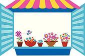 open window with flowerpots