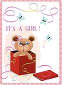 Valentine day postcard with bear